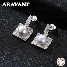 New Design 925 Sterling Silver Pave Zircon Square Stud Earrings For Women Fashion Statement Pearl Stud Earrings Jewelry new arrival sterling silver 925 emerald earrings silver square openwork green zircon stud earrings for women palace jewelry gift