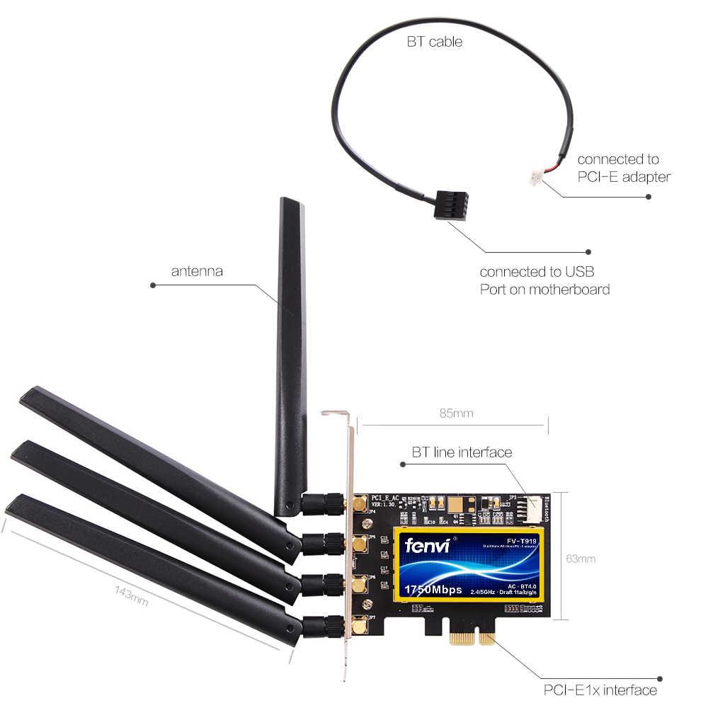 FV-T919 double bande PCI-E bureau Wifi carte 802.11AC Broadcom BCM94360 sans fil Bluetooth 4.0 adaptateur Mac OSX + PC/Hackintosh