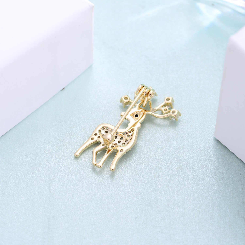 חמוד לבן ורוד זירקון צבי סיכות לנשים זהב צבע נחושת חג המולד איל סיכת סיכות אופנה בגדי תכשיטי מתנות