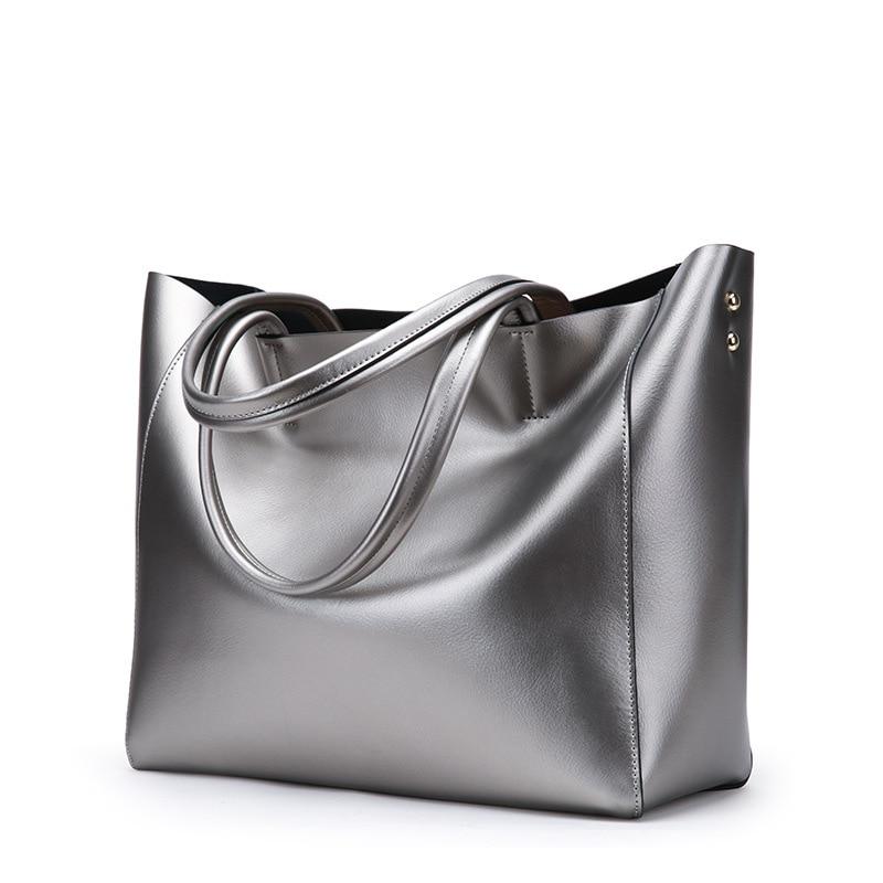 Brand Women Genuine Leather Bags Silver Large Female Shoulder Bags Big Ladies Purses And Handbags Designer Tote Bags 2020