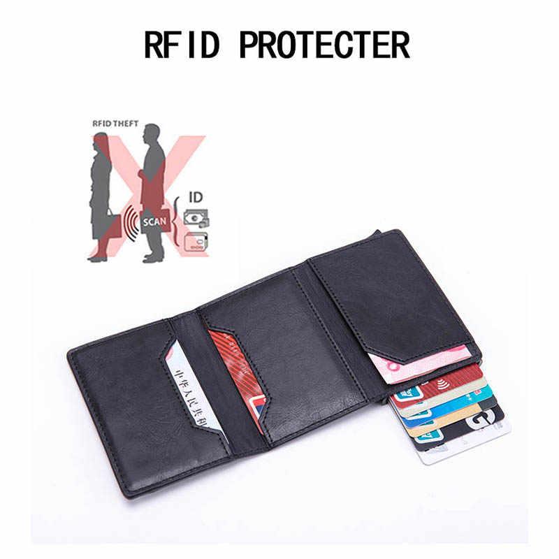 BISI GORO Anti-diefstal Rfid Credit Kaarthouder Mannen Lederen Metalen Portemonnee Mannelijke Portemonnee Vrouwen Mini Carbon ID card Case Met Rits
