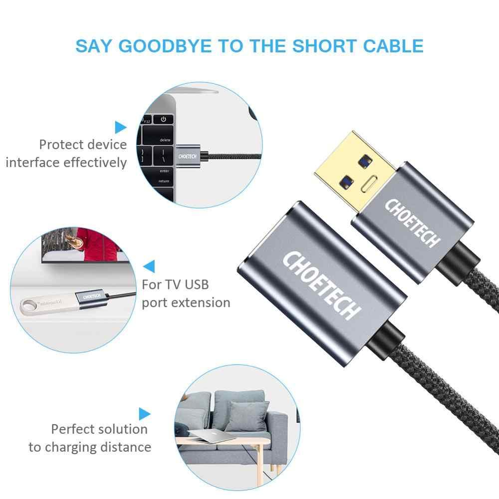 CHOETECH 2m USB 3.0 câble d'extension pour Smart TV PS4 Xbox SSD rallonge de données cordon caméra souris contrôleur de jeu câble d'extension