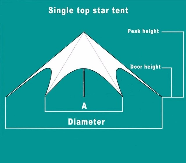 6*12m Single Top Star Shape Tent PVC and Aluminum Tent for Outdoor Party Event Wedding Sun Shade Leisure Trade Show Marquee Tent