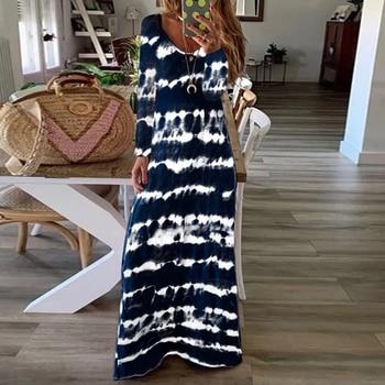 Spring Autumn Vintage Long Sleeve Party Dress Women Casual Striped Print Loose Long maxi Dress Vestidos Plus Size 5XL цена 2017