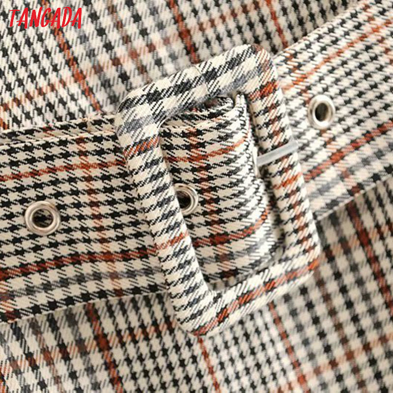 Tangada England fashion women plaid pattern dress with belt o neck Long Sleeve Ladies mini Dress Vestidos 6P17 3