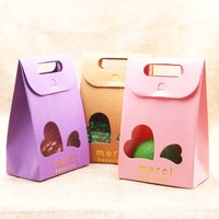 50pcs color Frech/Russia Thank you goldMerci bag boxes with stand up window for wedding/Gift/candy/tea Packing Bags