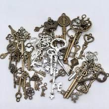 Vintage 30 pçs bronze antigo estilos misturados chave encantos pingentes diy jóias para colar pulseira fazendo accessaries