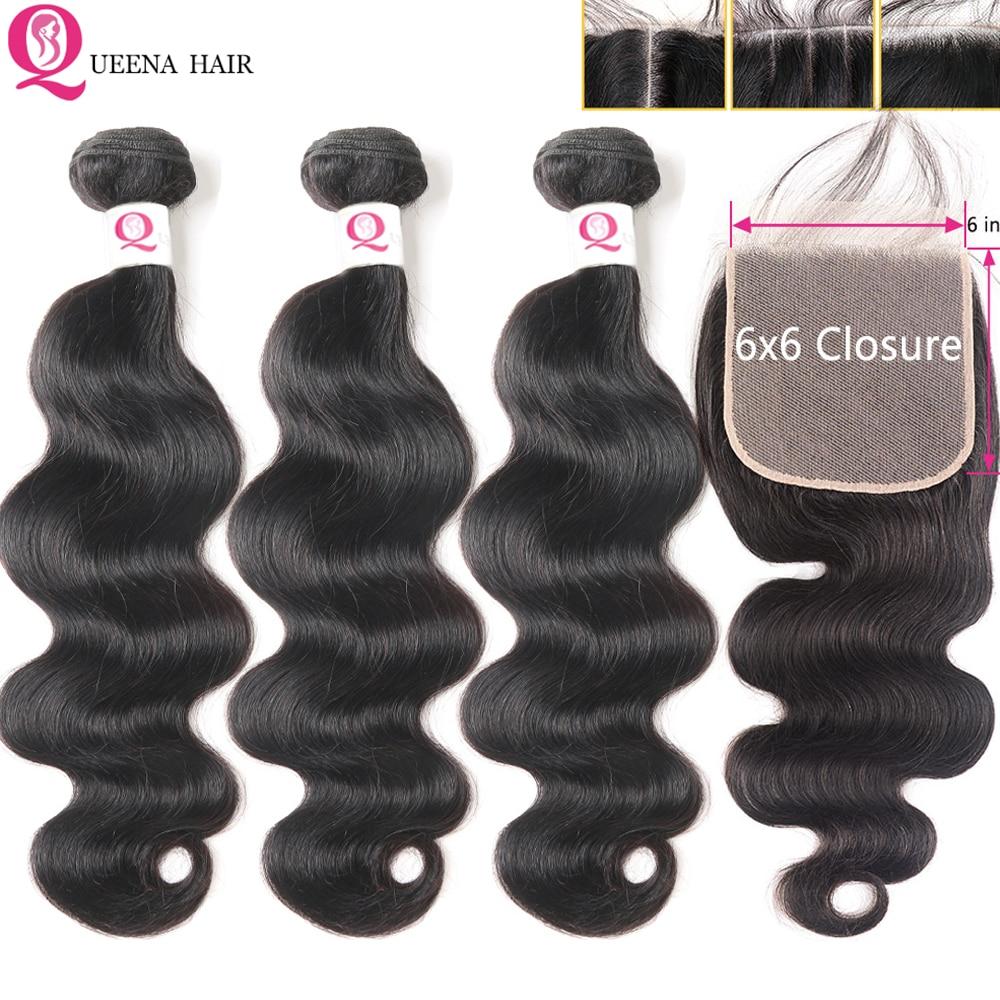 HD Lace Closure With Bundles 6x6 Transparent Lace Closure And Bundles Remy Brazilian Body Wave Human Hair Bundles With Closure