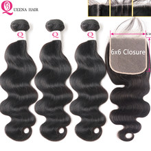 HD Lace Closure With Bundles 6x6 Transparent Lace Closure And Bundles Remy Brazilian Body Wave Human Hair Bundles With Closure(China)
