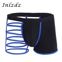 Mens Sexy Exotic Panties Lingerie Male Underwear Hot Sexy Boxer Shorts with One Leg Hollow out Underpants Erotic Male Underwear