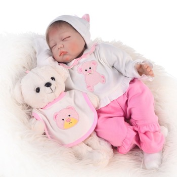 Pink bear reborn baby doll set 22inch 55cm hair rooted cotton body soft silicone reborn baby doll toys bebe reborn gift