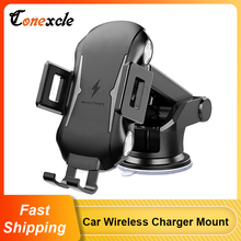 Conexcle Car Wireless Charger Mount for Samsung S20 Ultra Note 20 Note10 S10 Car Charger Phone Holder for iPhone 12 SE 11 8