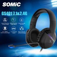 SOMIC Gaming Headset игры/видео/живые козы 3 режима светодиодный наушники 7,1 Surround Sound Беспроводной/проводной беспроводного доступа в Интернет для ПК и...