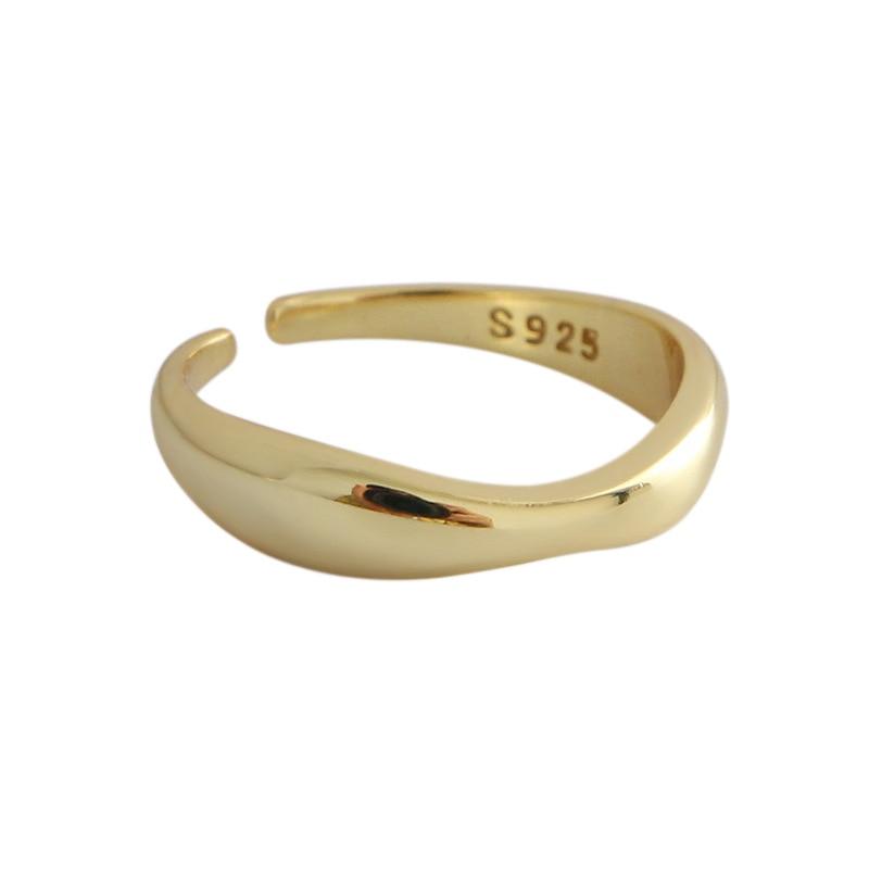 XIYANIKE 925 Sterling Silver Irregular Wave Rings Trendy Simple Geometric Handmade Jewelry for Women Couple Size 17mm Adjustable 2