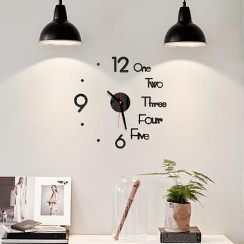 DIY Digital Wall Clock 3D Mirror Surface Sticker Silent Clock Home Office Decor Wall Clock for Bedroom Office 1