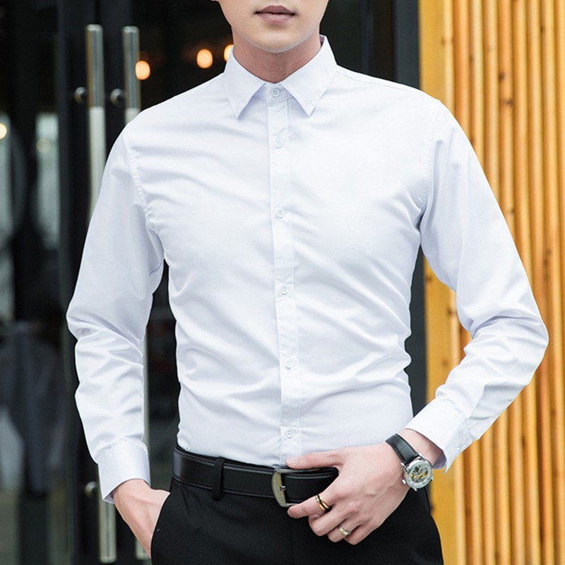 New 2019 Autumn Long Sleeve Turn-down Collar Men Shirts Tops Office Work Casual Slim White Shirt Male Formal Large Size Shirt