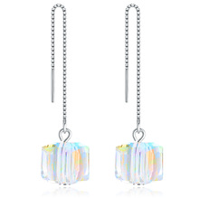 Top Quality new jewelry cz Crystal square Earrings for Women gift sterling silver s925 earrings  Stud Earring fashion