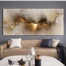Wangart szara żółta chmura abstrakcyjny obraz olejny myśl niezależny obraz ścienny do życia płótno pokoju nowoczesny plakat artystyczny i druk