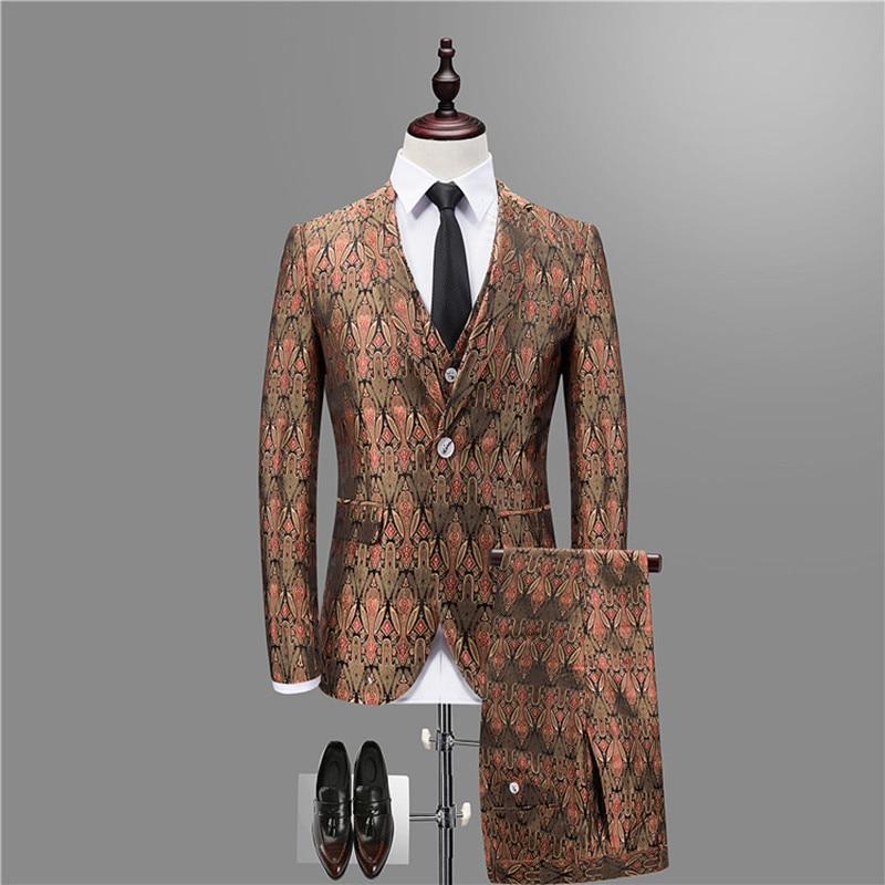Men's Suit Men's Jacquard Slim Gentleman's Suit Three-piece Suit (jacket + Trousers + Vest) Men's Banquet Ball Blazer Set