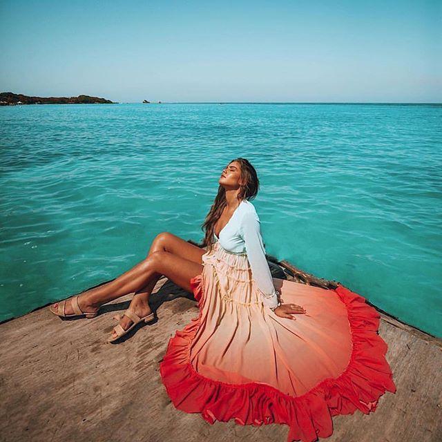 Été plage robe femmes Boho arc-en-ciel dégradé Maxi robes Sexy profonde col en V élégant en mousseline de soie tenue décontractée - 4