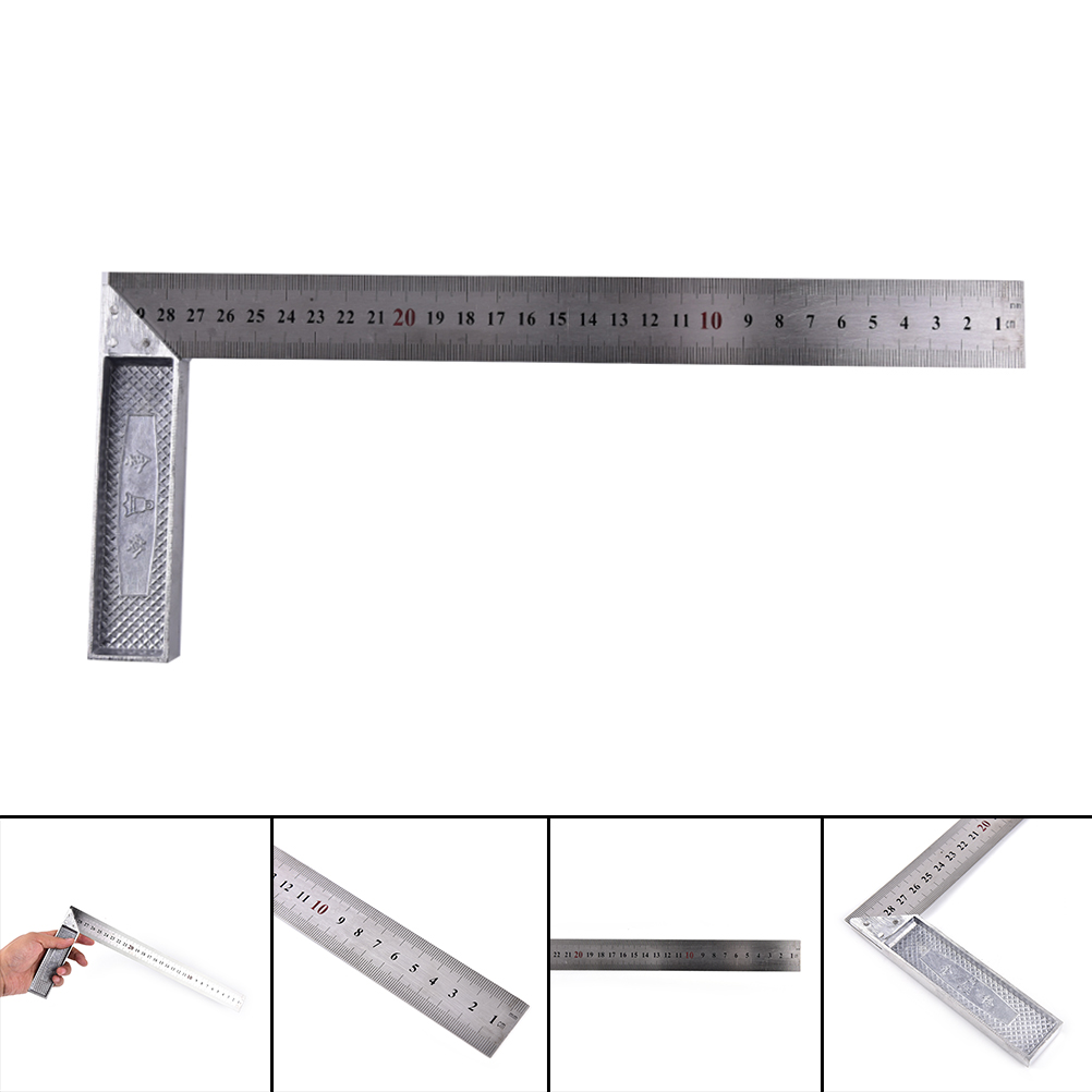 1pc 150x300mm*1.2mm Straight Stainless Steel 90 Degrees Metric Scales  Square Ruler School Office Stationery Teaching Tools