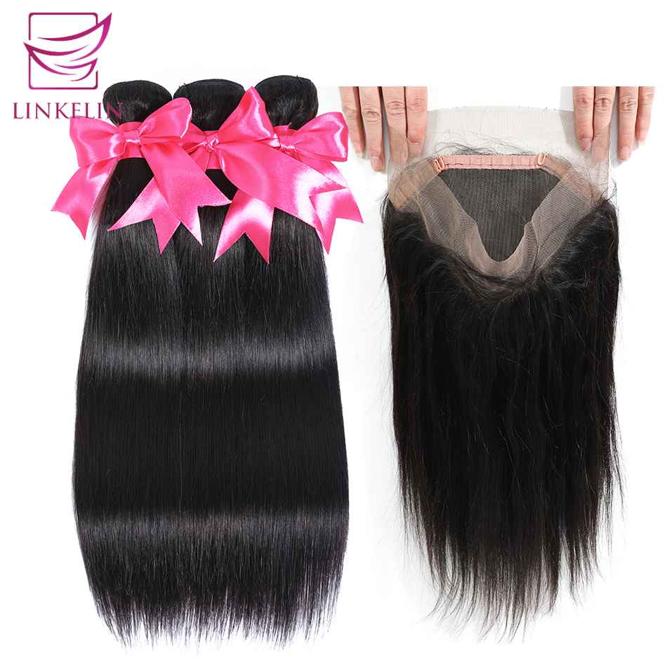 LINKELIN Brazilian Straight Hair Bundles With 360 Lace Frontal Closure Natural Color Remy Hair 3 Bundles With Closure