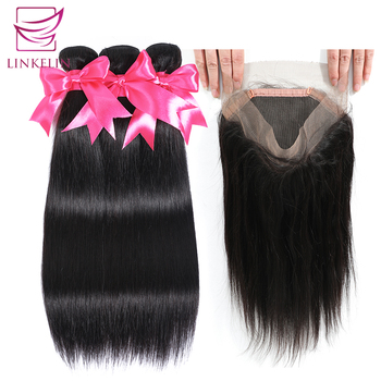 LINKELIN Brazilian Straight Hair Bundles With 360 Lace Frontal Closure Natural Color Remy Hair 3 Bundles With Closure image