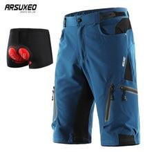 ARSUXEO велосипедные шорты для мужчин MTB велосипедные шорты с нижним бельем водонепроницаемые свободные быстросохнущие 1202