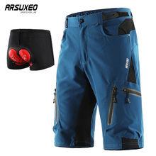 ARSUXEO גברים מכנסיים רכיבה על אופניים MTB אופניים אופני קצר עם תחתוני downhill מים עמיד Loose fit מהיר יבש 1202
