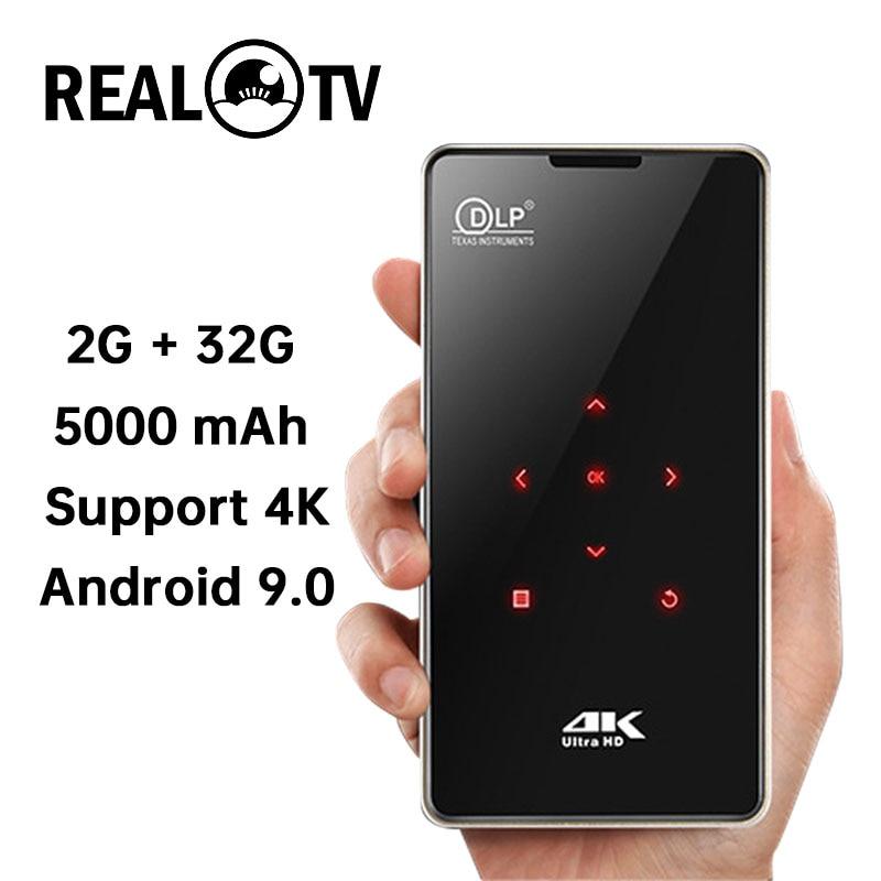 REAL TV P09 Мини Портативный DLP Android проектор домашний кинотеатр HDMI Поддержка 4K WiFi Bluetooth Miracast Airplay мобильный телефон