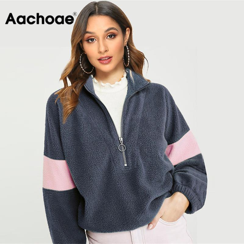 Aachoae Patchwork Fleece Sweatshirts 2020 Autumn Winter Warm Hoodies For Women Casual Long Sleeve Zipper Teddy Hoodie Loose Top