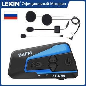Image 1 - Lexin LX B4FM 4 רוכבים 1600M Bluetooth intercomunicador moto, אופנוע אינטרקום אוזניות עם FM רדיו BT קסדת אוזניות intercomunicadores דה casco moto