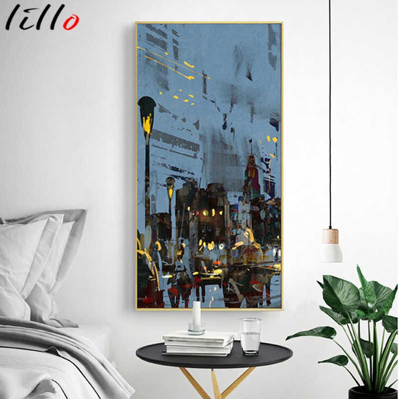 Современный архитектурный настенный постер с абстрактным пейзажем улица Парижа, современный уличный постер с ночным видением, холщовая печать для гостиной и дома