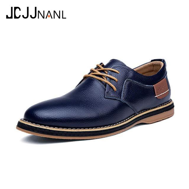 Promo 2019 New Men Oxford Genuine Leather Dress Shoes Brogue Lace Up Flats Male Casual Shoes Footwear Loafers Men Big Size 39-48