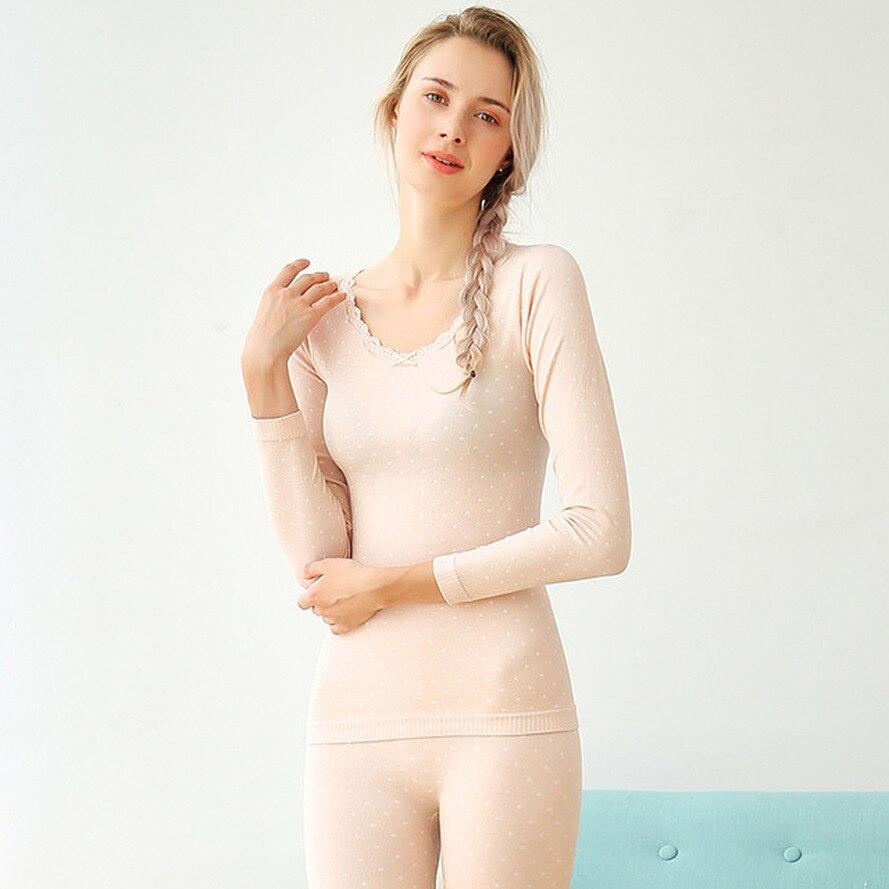 Women's Knitted Warm Set  Bow Tie Circle Polka Dot Thermal Underwear Skinny Thermal Underwear Girls Large Size Thermal Underwear