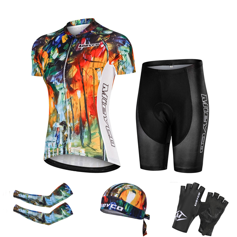 Outdoor Mountain Biking Apparel Women Cycling Apparel Breathable <font><b>Bikes</b></font> <font><b>Wear</b></font> Short-sleeved Quick-drying <font><b>Bike</b></font> Jerseys Set Racing image
