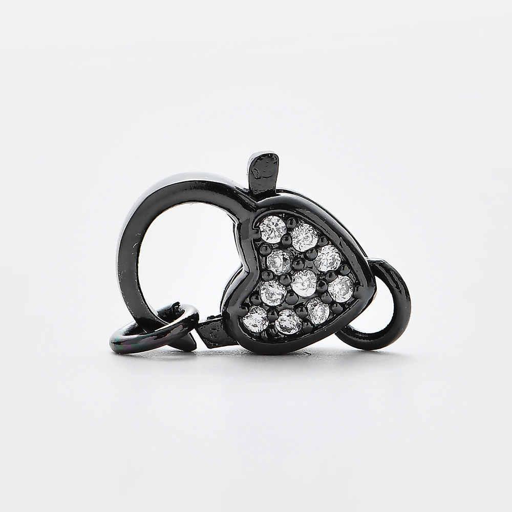 Micro Pave Zircon Hình Trái Tim Đồng Tôm Hùm Móc Kết Nối Cho Vòng Tay Trang Sức DIY Làm Phụ Kiện