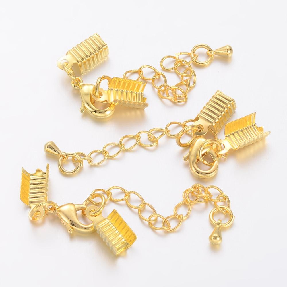 12 Clasp and Clip Ends Set w.Extender Chain for Jewelry Making Bronze 6*13mm