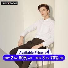 Metersbonwe Brand Men Smart Casual Shirts 2019 Spring Autumn Male Slim Long Slee
