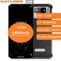 OUKITEL 10000mAh 5 V/6A Smartphone de carga rápida K12 6,3 FHD + pantalla grande gota de agua Android 9,0 Octa Core teléfono móvil 6GB 64GB