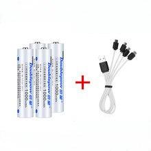 Оригинальная перезаряжаемая батарея 1,5 в AAA МВт-ч USB перезаряжаемая литиевая батарея Быстрая зарядка через кабель Micro USB