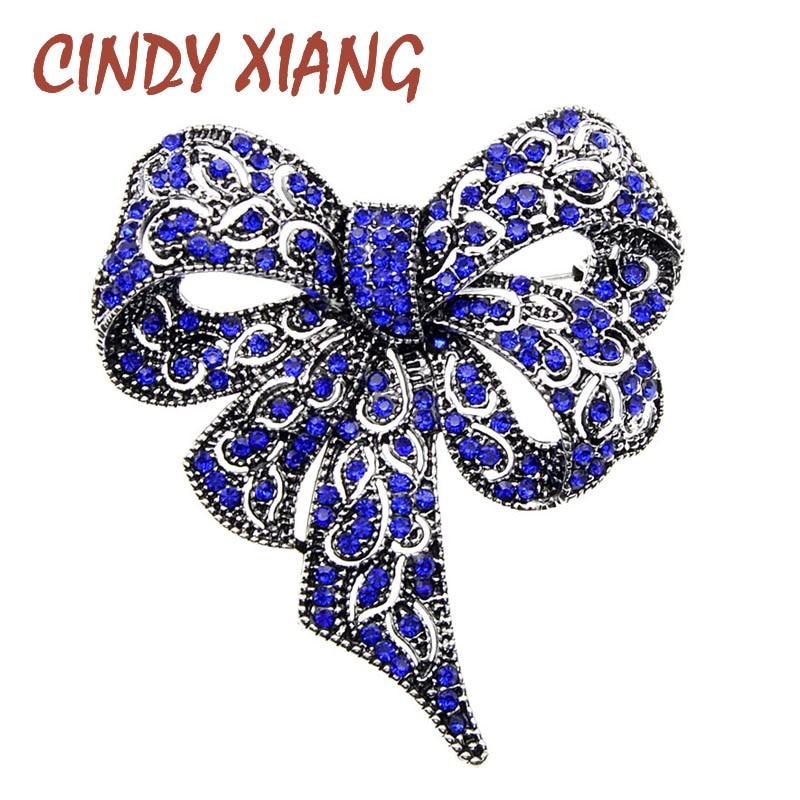 Женская винтажная брошка CINDY XIANG, черная брошка с бантом и стразами, зимние аксессуары