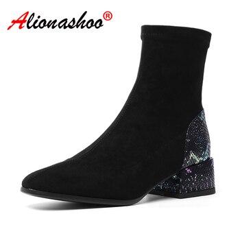 Women Sock Boots Patchwork Ankle Boots Round Toe Hoof Heels Ladies Boots Black Beige Women Booties Botas Mujer Size 34-39