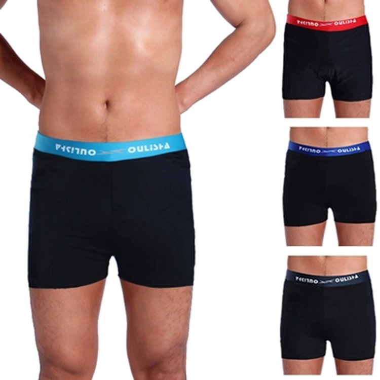 Hot Selling Men Boxer Swimming Trunks Pocketless 100 Thousand High Waist Chinlon Swimming Trunks 5249