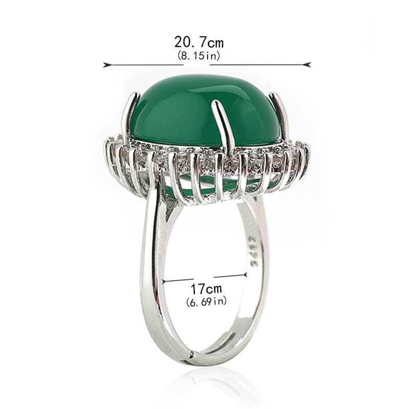 แฟชั่นสีเขียว Chalcedony อัญมณีแหวน Turquoise ดอกไม้รูปไข่อาเกตสำหรับผู้หญิงหยก anillos de bizuteria