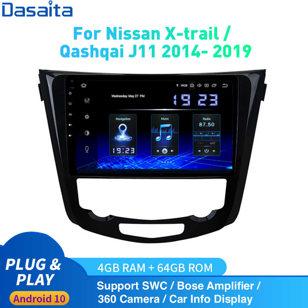 Android 10,0 Car Radio 1 Din para Nissan X-Trail J11 Qashqai Rouge multimedia 2014 - 2019 DSP HD IPS 1280*720 Carplay 4Gb + 64Gb