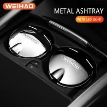 Stainless Steel Car Ashtray with Blue LED Light Push Type Auto Vehicle Cigarette Ashtray Holder Universal Smokeless Ashtray