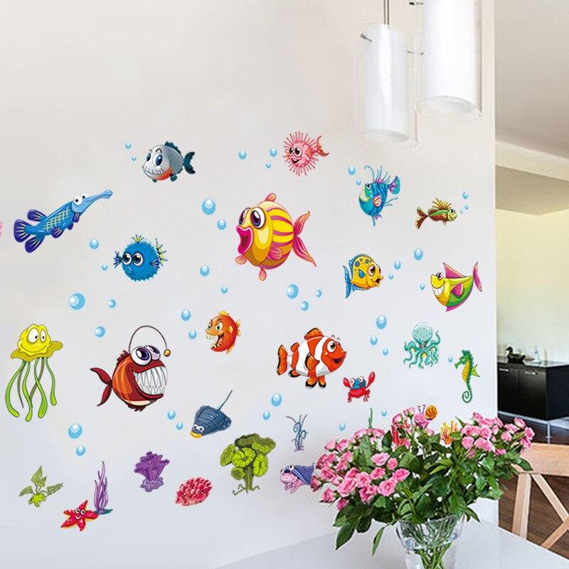 Купить подводный мир мультфильм наклейка на стену детская комната детский