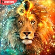 HUACAN – peinture diamant Lion, broderie 5d, bricolage, point de croix, image en strass, Constellation, mosaïque