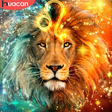 Huacan DIY Diamond Bordir Lion 5D Lukisan Berlian Cross Stitch Gambar Rhinestones Mosaik Diamond Constellation(China)